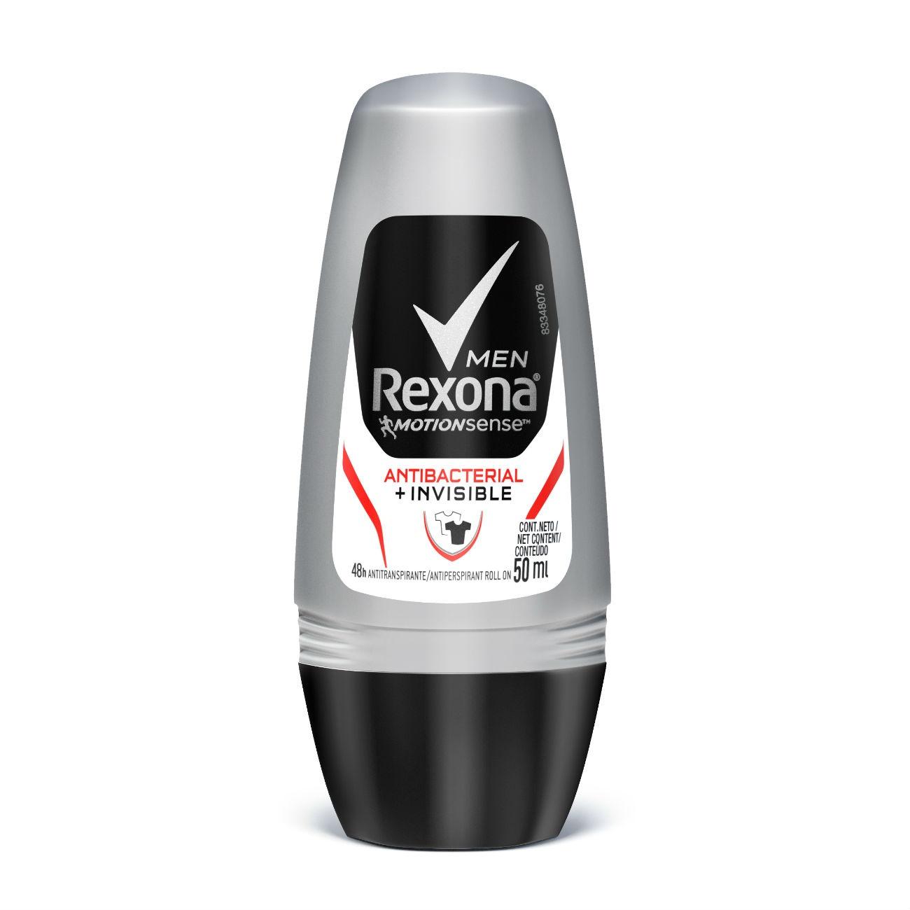 Desodorante Rexona Men Roll On Antibacterial + Invisible 50g
