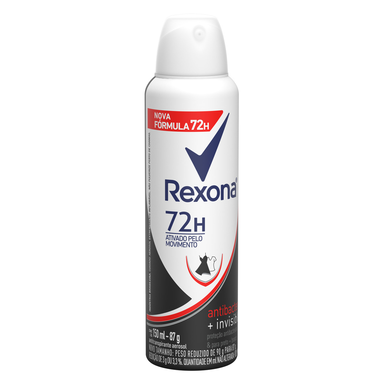 Desodorante Antitranspirante Rexona Aerosol Feminino  Antibacteriano + Invisible 72 horas 150mL