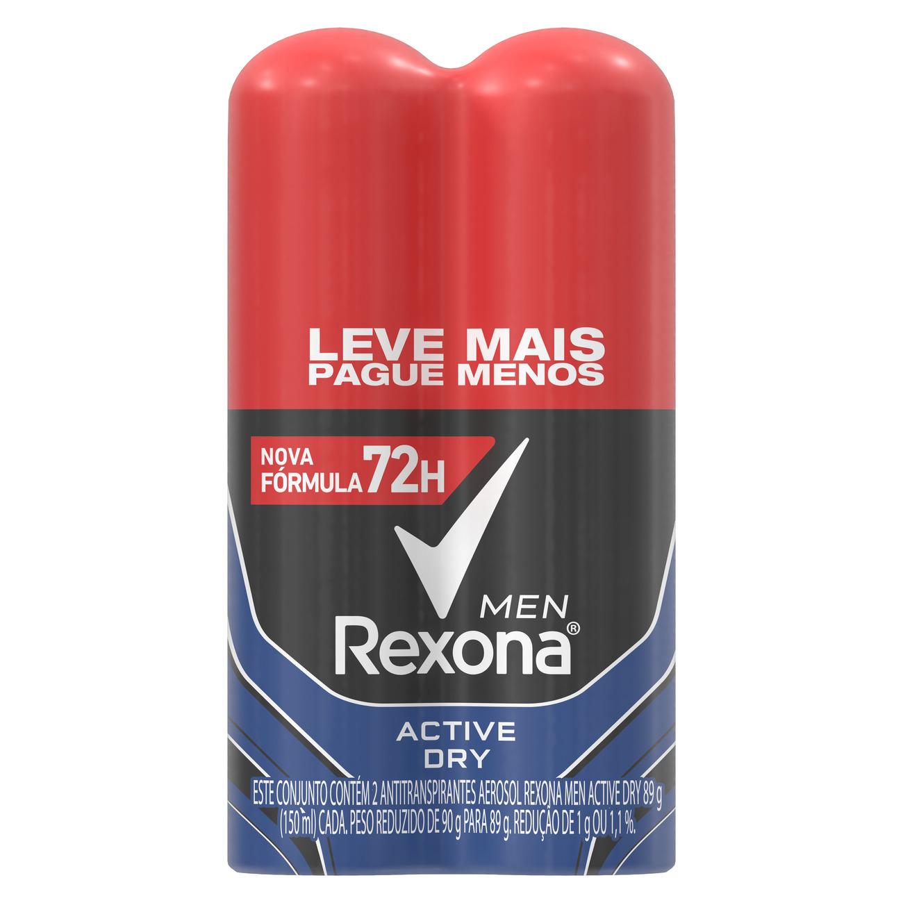 Oferta 2 Desodorantes Antitranspirante Rexona Men Aerosol Active Dry 72 horas 150mL