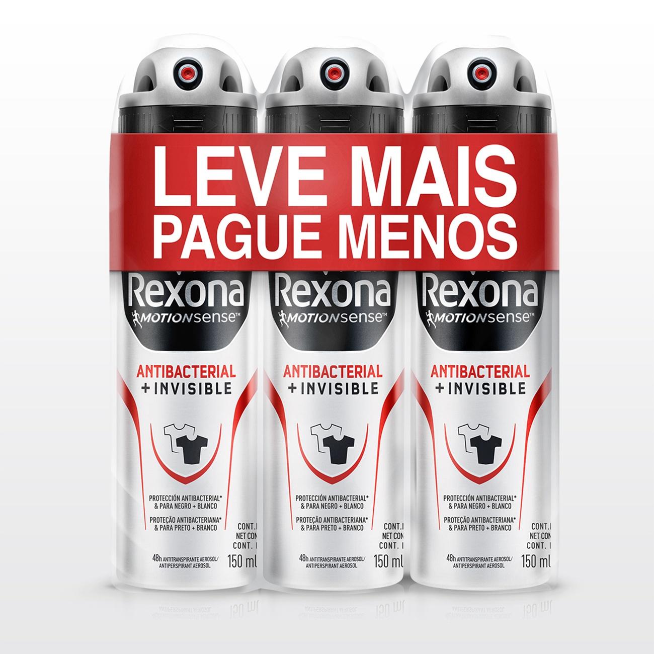 Oferta Desodorante Antitranspirante Rexona Men Aerosol ANTIBACTERIAL + INVISIBLE Leve Mais Pague Menos 150ml