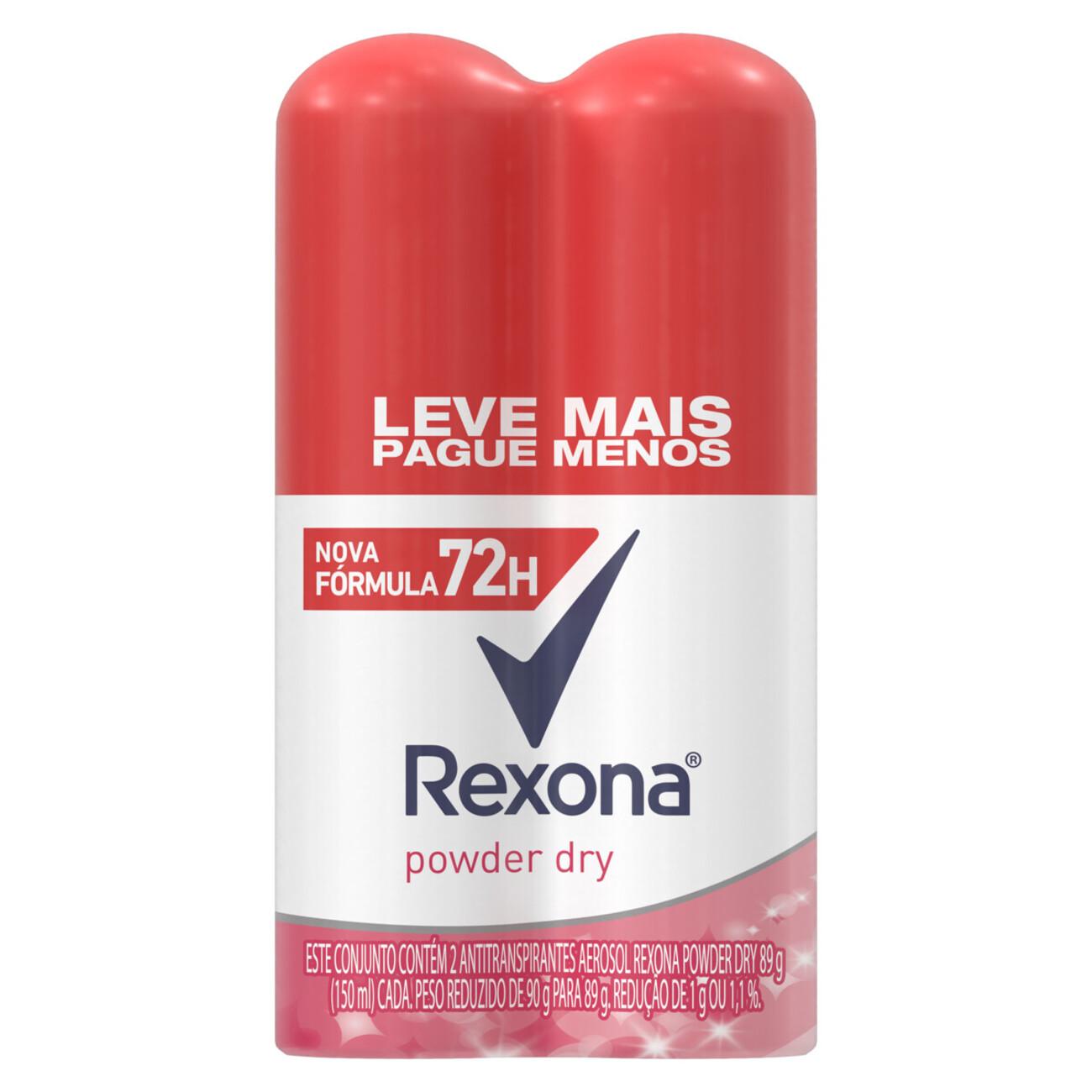 Oferta 2 Desodorantes Antitranspirante Rexona Feminino Aerosol Powder Dry 72 horas 150mL