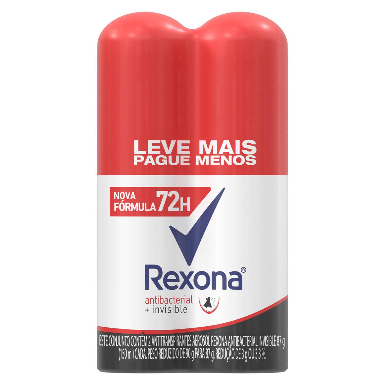 Oferta 2 Desodorantes Antitranspirante Aerosol Rexona Antibacterial + Invisible 72 horas 150mL