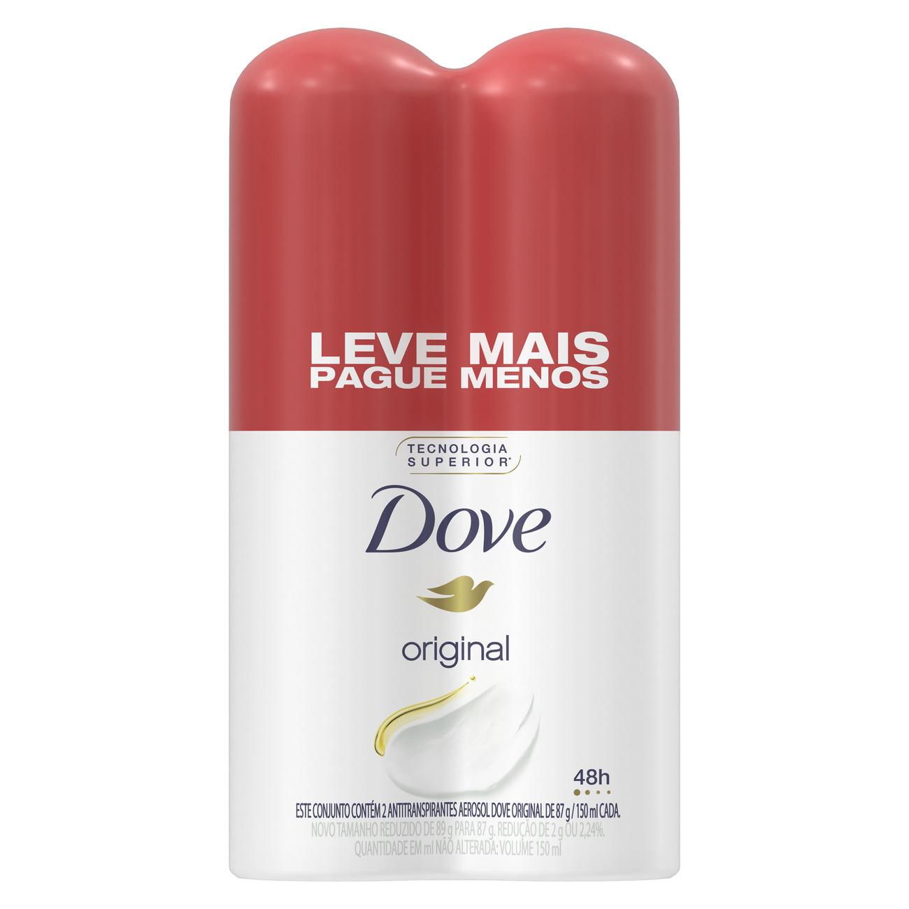 Oferta 2 Desodorantes Antitranspirante Aerosol Dove Original 150ml