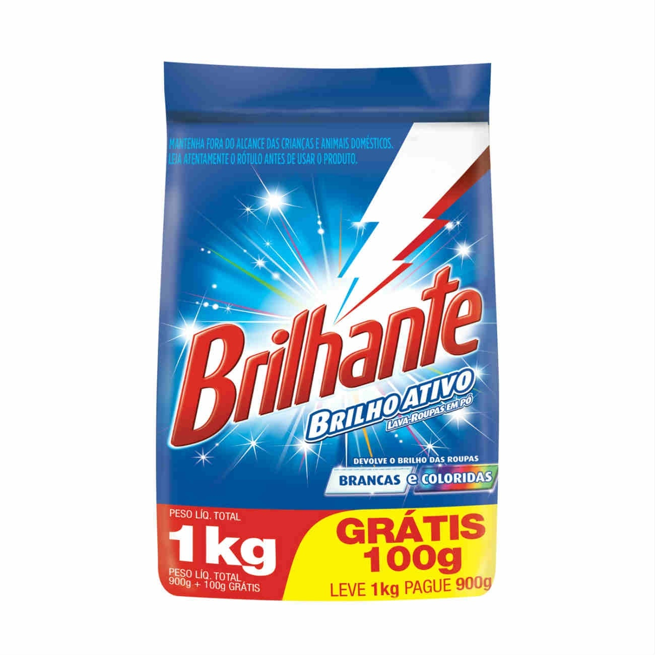 Oferta Detergente em Pó Brilhante Multi tecidos Pague 900g Leve 1Kg