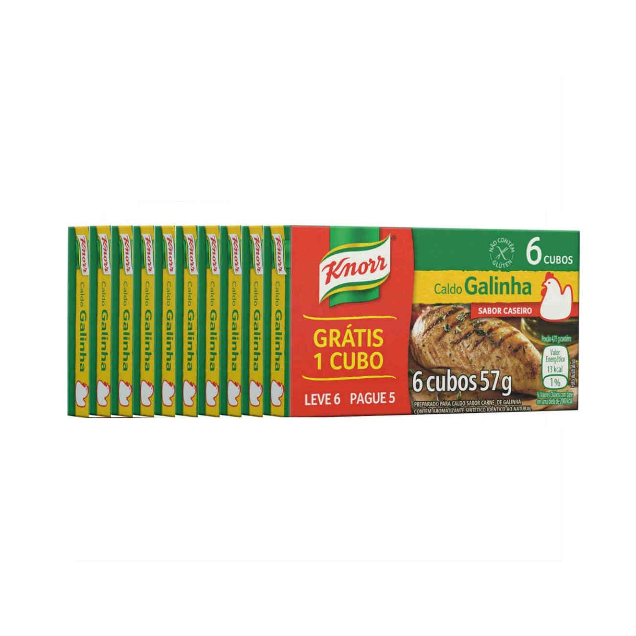 Display com 10 Ofertas Caldo Knorr Galinha Pague 5 Leve 6 Cubos 57g
