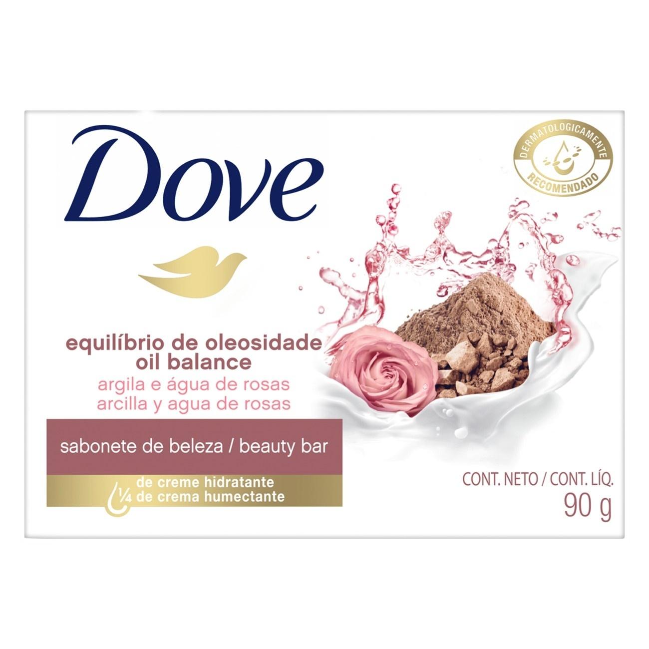 Sabonete em Barra Dove Equilíbrio de Oleosidade Argila e Água de Rosas 90g