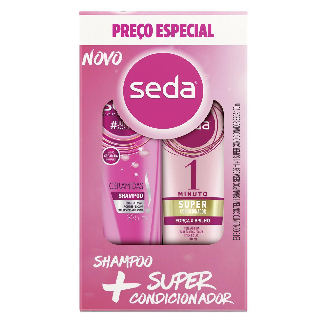 Oferta Seda Shampoo Ceramidas 325ml + Super Condicionador Força e Brilho 170ml