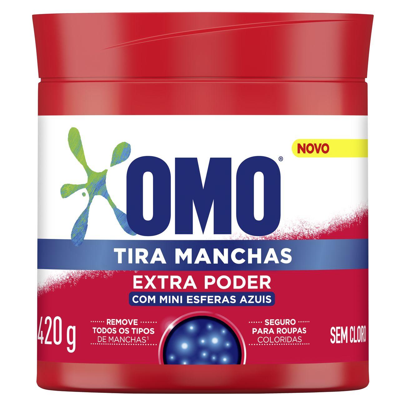 Tira Manchas Omo Roupas Coloridas Pó com mini esferas azuis 420 G