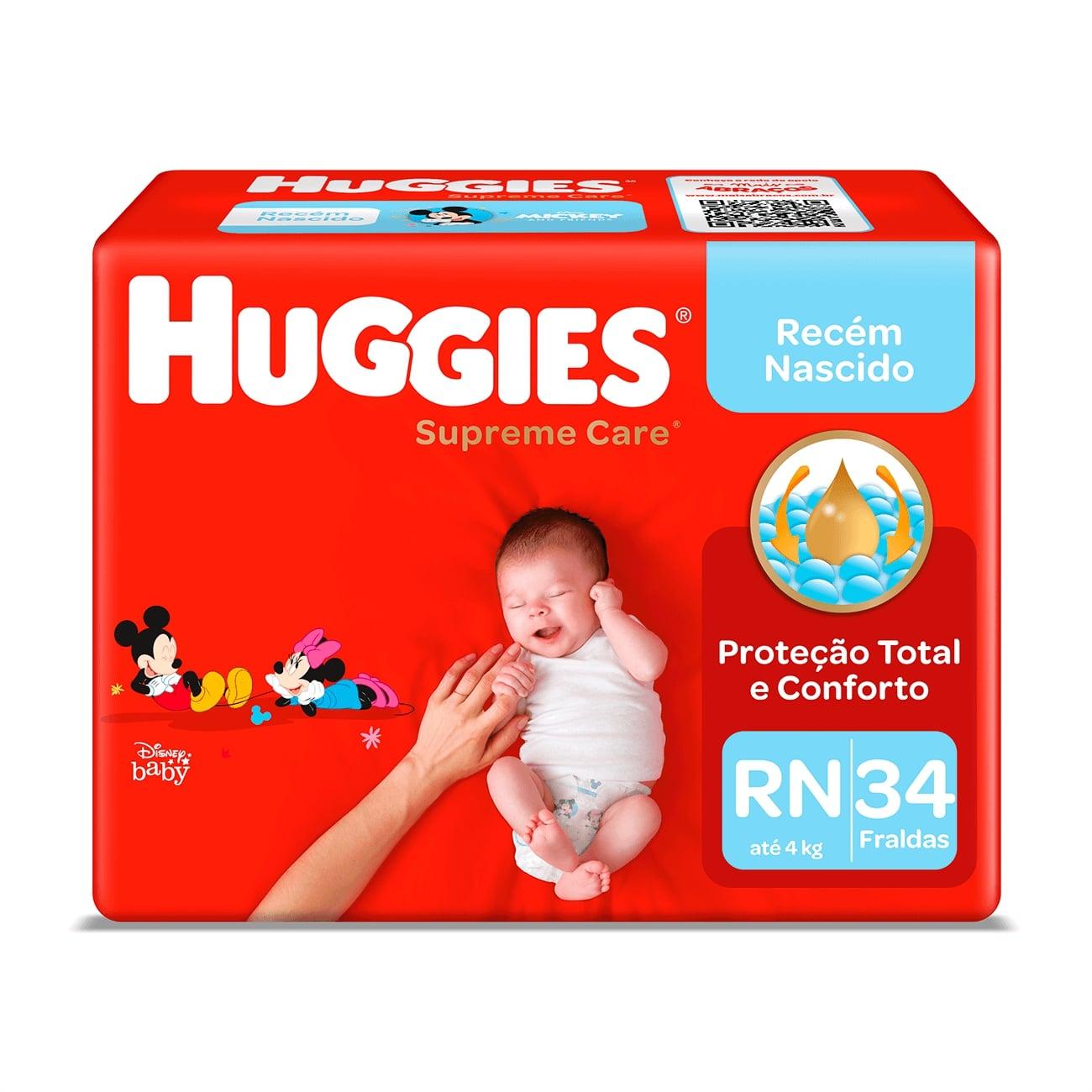Fralda Huggies Supreme Care Mega RN 34un