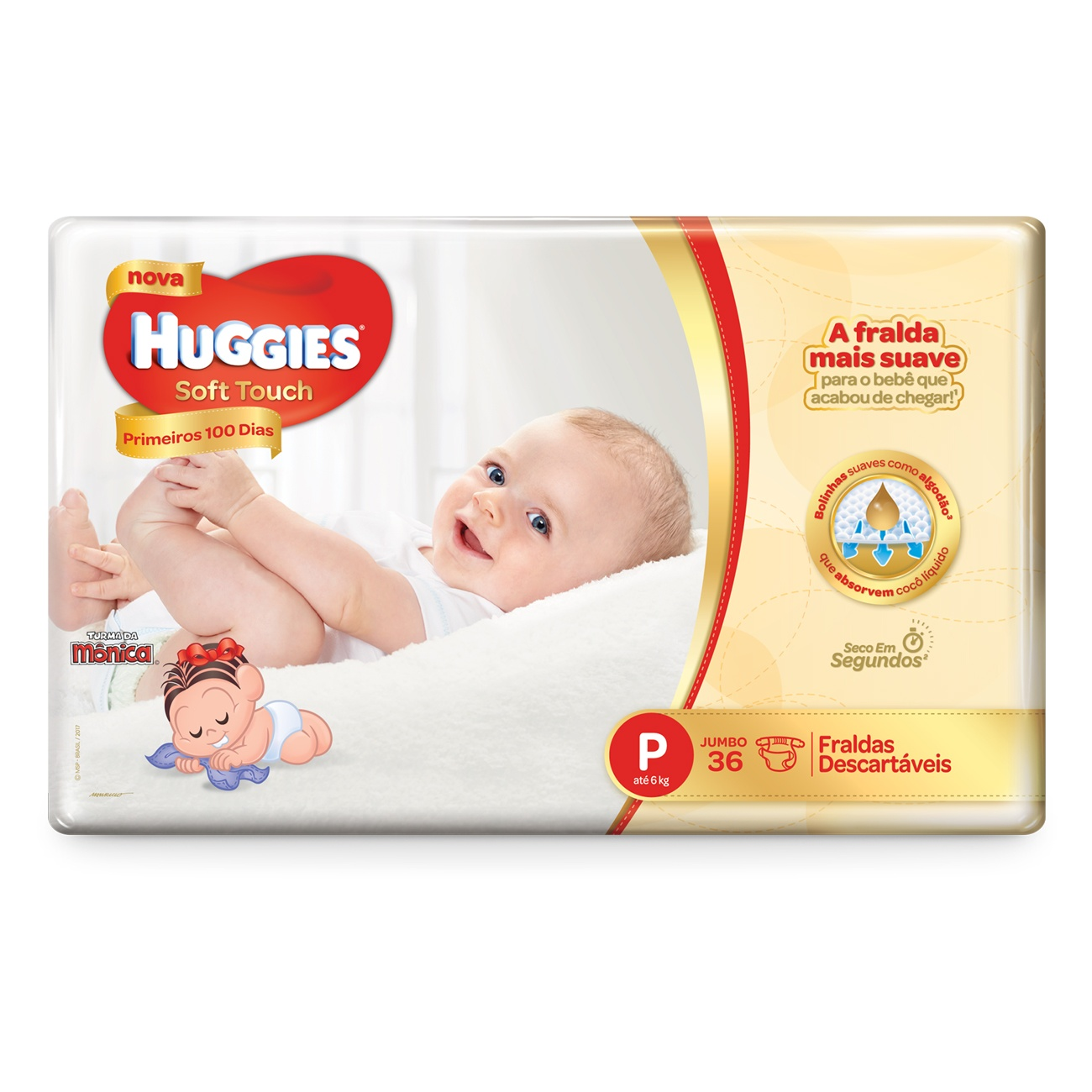 Fralda Huggies Soft Touch Primeiros 100 Dias Jumbo P 36un